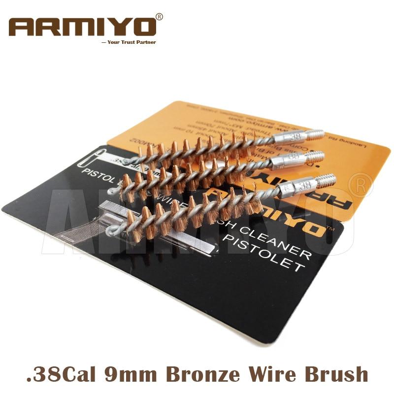 Armiyo Brush 9mm .380 .38 .357 Cal Pistol Barrel Cleaning Brush Gun Bore Cleaner Kit Hunting Shooting Set Screw Thread Size 8-32