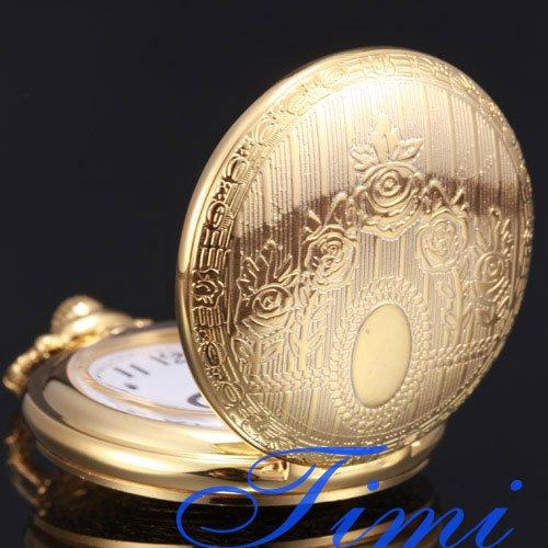 Wholesale NEW GOLDEN TONE CASE QUARTZ MEN POCKET WATCH WITH CHAIN