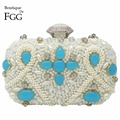Bridal Wedding Party Luxury Handbags Women Bags Designer White Beaded Crystal Clutches Metal Hardcase Shoulder Handbags Bolsas