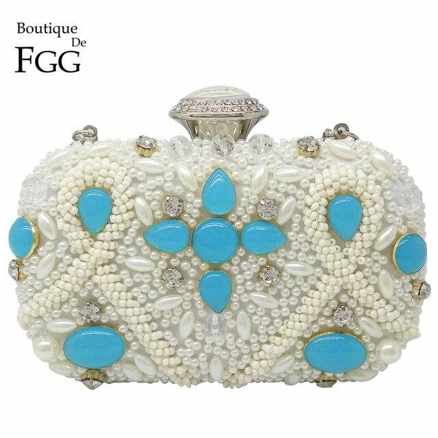 Bridal Wedding Party Luxury Handbags Women Bags Designer White Beaded Crystal Clutches Metal Hardcase Shoulder Handbags Bolsas