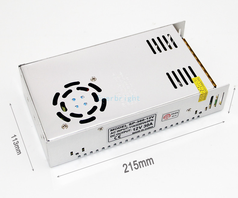 360W 12V 30A Small Volume Single Output Switching power supply for LED Strip CNC 3D Print360W 12V 30A Small Volume Single Output Switching power supply for LED Strip CNC 3D Print