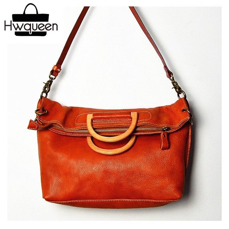 Foldable Designer Soft Cowskin Women's Large Working Totes Genuine Leather Female Laptop Handbag Lady Single Cross Shoulder Bag