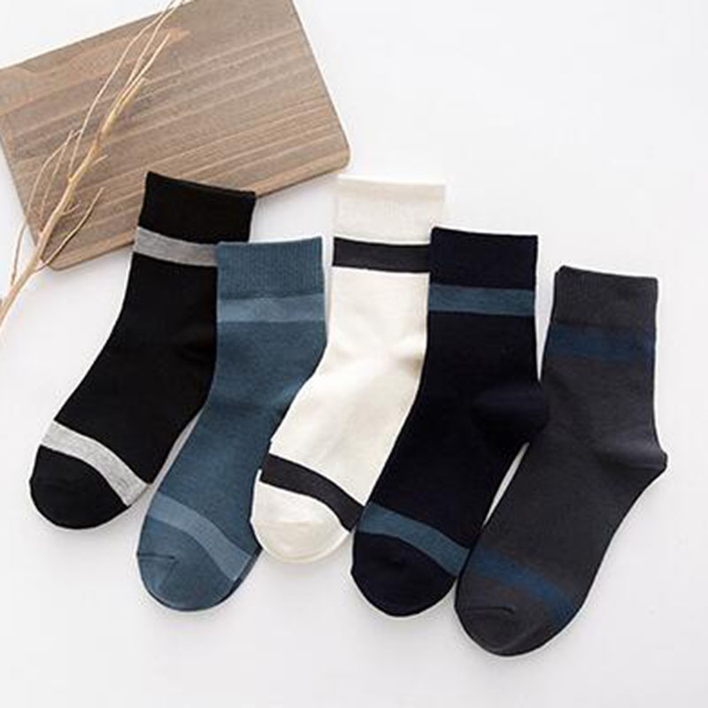 New Men Socks Casual Business Dress Ankle Hombre Cotton Meias Masculinas England Style Stripe Pattern Sox Autumn DropShipping