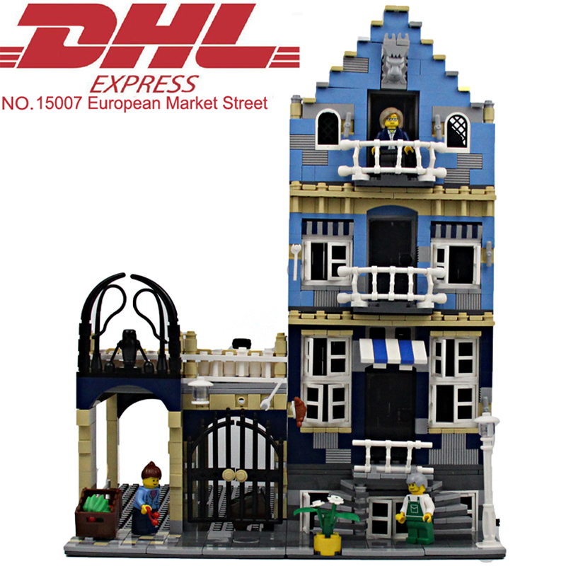 ФОТО 1275Pcs Lepin City Street European Market Street Model Building Kit Blocks Bricks Toy For Children Figures Compatible With 10190