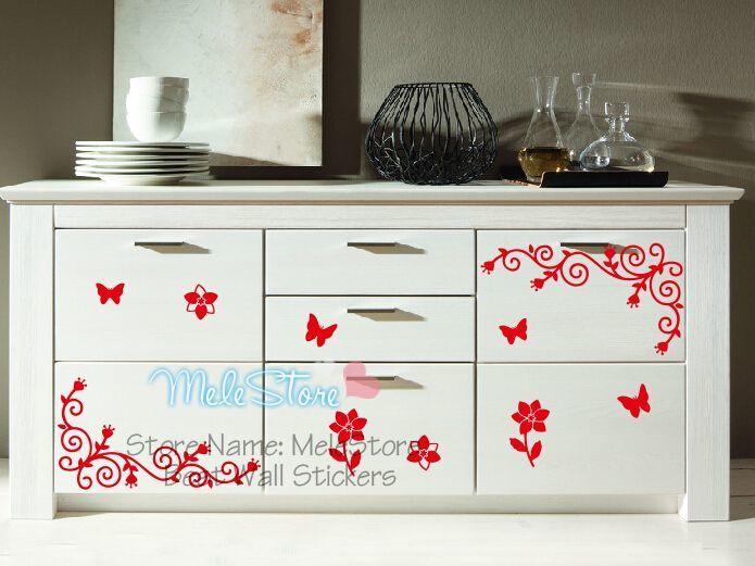 Woonkamer Accessoires Decoratie : Muursticker home decor woonkamer keukenkast koelkast vlinder bloem