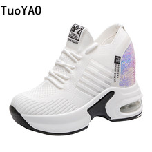 New Women Summer Mesh Platform Sneakers Trainers White Shoes 8.5CM High