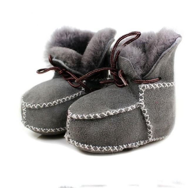 Winter Baby Shoes Boots Infants Warm Shoes Fur Wool Girls Baby Booties Sheepskin Genuine Leather Boy Baby Boots Fur Newborns S-2