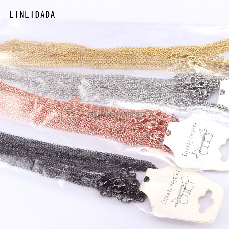 20Pcs Mix Color High Quality Chain Metal Lobster Clasp Necklace Chains Fashion Jewelry