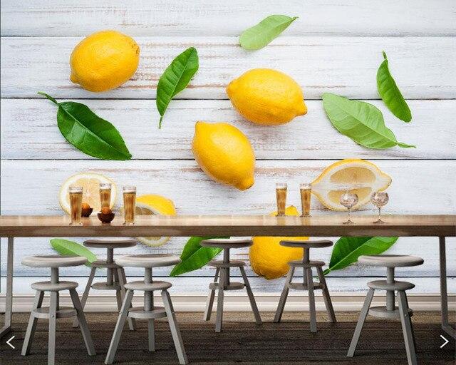 Lemons Food Photo Leaf Fruit 3d Wallpaper Mural Papel De Parede For