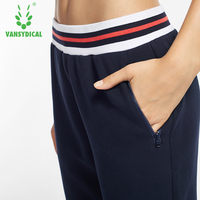 Vansydical Sports Running Pants Women's Zipper Pocket Breathable Outdoor Workout Jogging Long Trousers Female Sweatpants