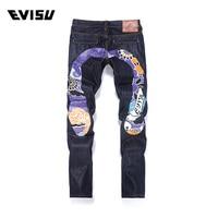 Evisu 2018 New Men's Denim Jeans Tide Brand Casual Fashion Joggers Trousers Men Purple Flower Print Big M Hiphop Long Pants 6203