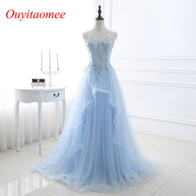 2018 New Light Blue Prom dresses Sweetheart Neckline Tulle Lace Appliqued Floor  Length long Woman Evening party dresses In Stock 19af48c4a2a9