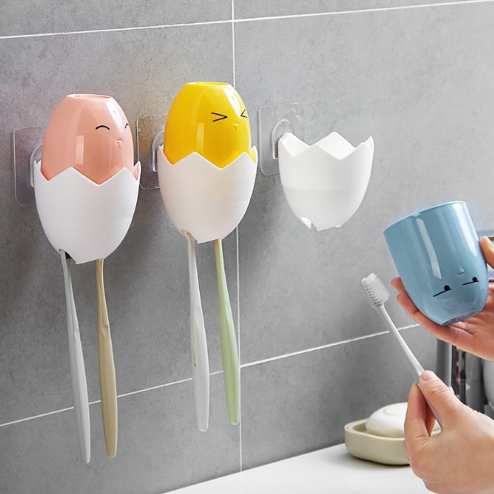Creative Toothbrush Holder Stand Self Adhesive Cute Chicken Tooth Brush Storage Organizer Bathroom Accessory for Kids image