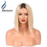 Alicrown 1b/613 Ombre Blonde Brésilienne Remy de Cheveux Humains Avant de Lacet perruques Pré pincées Court Bob perruques Avec Bébé Cheveux Blanchis noeuds