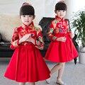 2017 moda primavera estilo chinês tradicional cheongsam traje vestido meninas tang terno qipao vestido meninas princess party performan