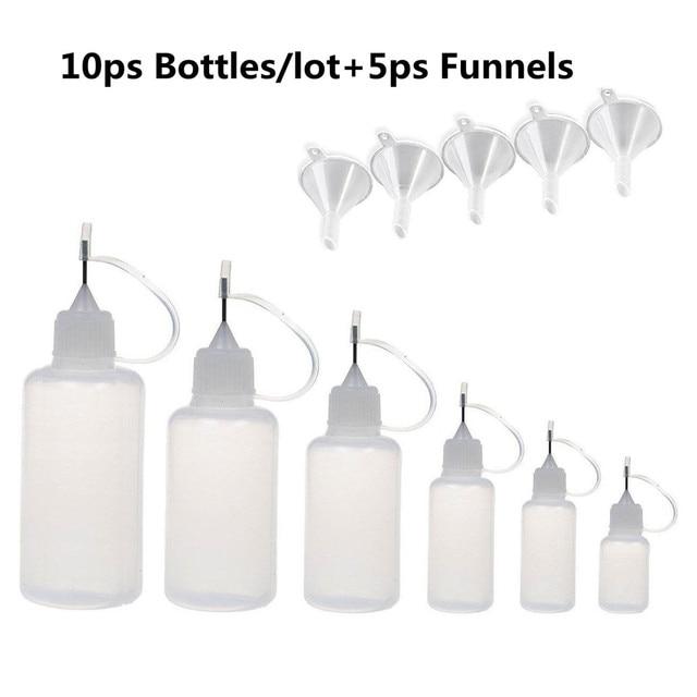 10PCS E Liquid Dropper Bottles Needle Empty Plastic bottle Squeezable  Refillable  Cigarette Oil Bottle  5ml 120ml