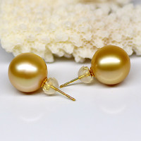 925 silver real natural big Natural seawater pearl stud earrings / Nanyang Kim 11mm smooth circle genuine pearl earrings