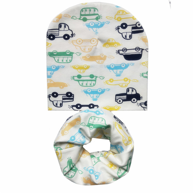 Print Baby Bibs Hat Set Boys Girls O Ring Collar Children Spring Soft Neckerchief Baby Hat Neck Scarf Kids Beanies Scarf Sets