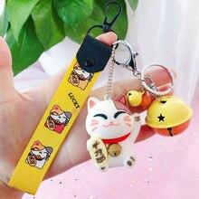 купить Cute Lucky Cat Keychain Pvc Stitch Key Chains Key Rings Animal Key Chains Holder Leather Rope Keyring Car Charms Porte Clef недорого