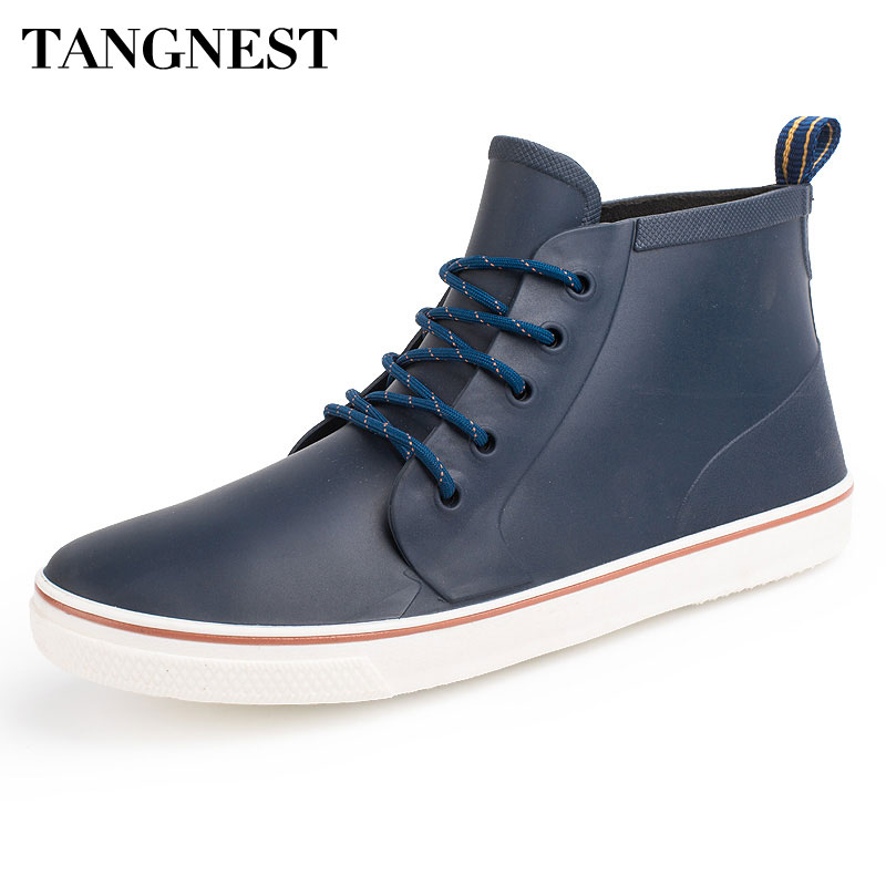Tangnest NEW 2018 Men Rain Boots Summer Casual Waterproof Rubber Shoes Men Outdoor Lace Up Ankle Boots Platform Shoes Man