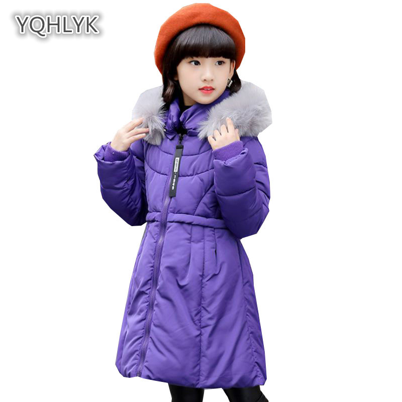Girls winter children's clothing Cotton coat thicken hooded warm long girls jacket fashion kids long Cotton Girls LK036
