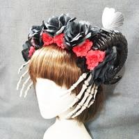 Steampunk Horn Flower Headband Fancy Halloween Hand Skeleton Hair Band Party Magical Decor Hair Accessories Gothic