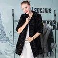 Реального Норки Пальто Женщин Черный Половина рукава Цветочные Подлинная Норки Трикотажные Пальто Куртки Женская Мода Зима Теплая мех И Пиджаки