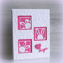 Naifumodo Bunny Squares Dies Rabbit Metal Cutting Dies for Scrapbooking Easter Craft Dies Cards Making Embossing Stencil New