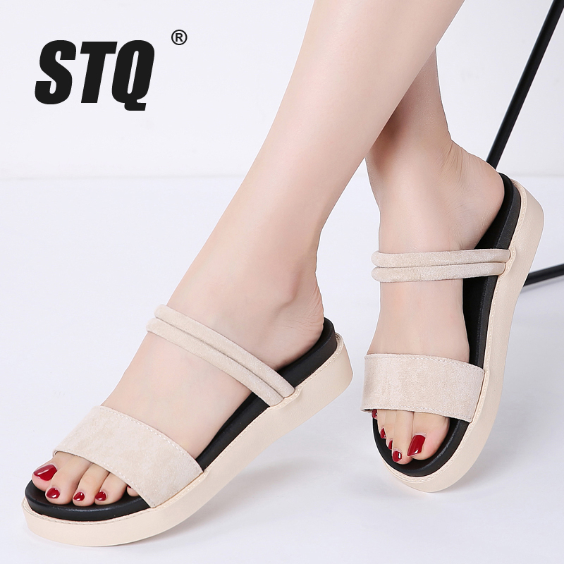 STQ Flat Sandals Slippers Low-Heel Black Women Ladies 328 Slides
