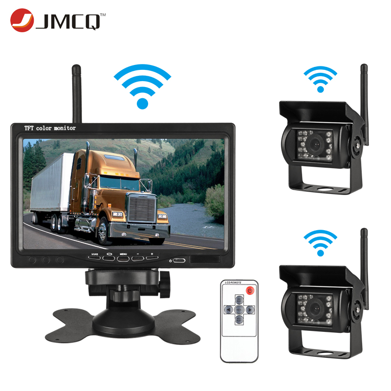 JMCQ 7 Inch TFT LCD Wireless Car Monitor HD Display Reverse Camera Parking System For Car Rearview Monitors For Truck work carsJMCQ 7 Inch TFT LCD Wireless Car Monitor HD Display Reverse Camera Parking System For Car Rearview Monitors For Truck work cars