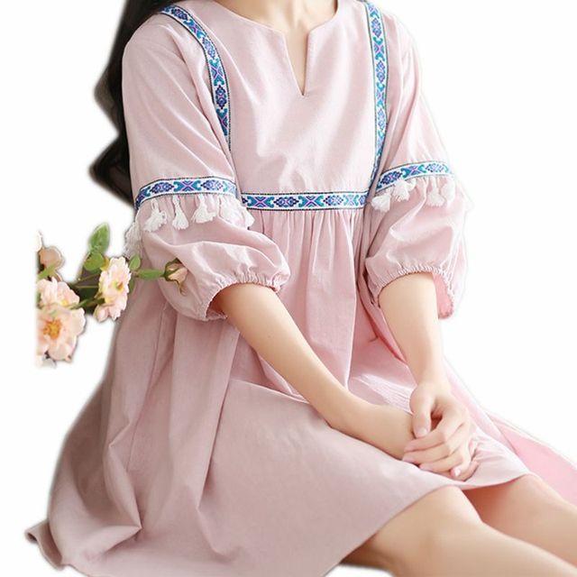b0c3980f2 Ropa de maternidad 2018 maternidad dulce salvaje cuello pico Patchwork borla  talla grande vestido suelto ropa