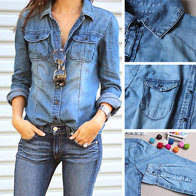 b82fc806e256a Para mujer de moda azul Jean Denim manga larga camisa remata la blusa  chaqueta fresca caliente
