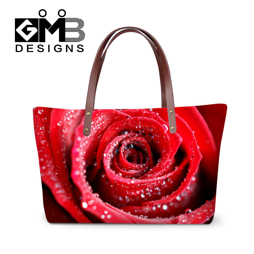 Red Rose Tote 3D floare de imprimare genți de mână Multifunctional - Genți