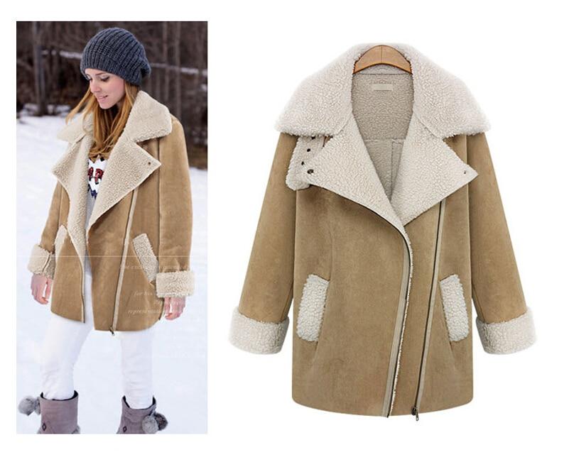 ФОТО 2016 Latest Women's Outerwears  Lapel Pockets Lapel Long Sleeve Dual Pockets Woolen Coat W-030