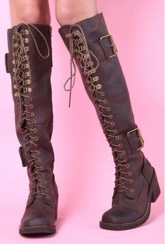 цена Top Quality Brown Lace Up Women Winter Boots Square Toe Knee High Riding Boots Chunky High Heels Ladies Shoes With Buckle