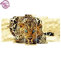 5d diy square Diamond embroidery leopard 5pcs Multi picture Combination diamond painting Cross Stitch Rhinestone mosaic