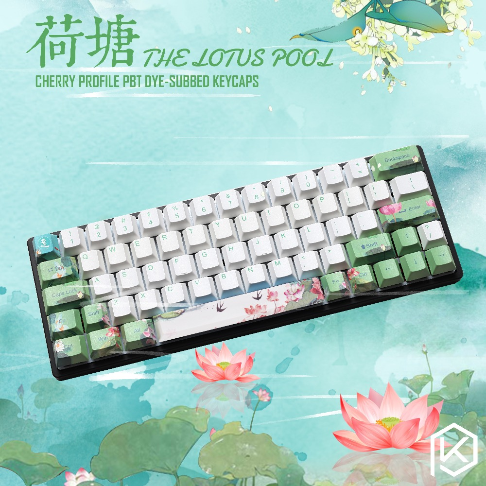 Cherry profile Dye Sub Keycap Set thick PBT plastic lotus pool green white blue colorway for gh60 xd64 xd84 xd96 tada68 87 104-in Keyboards from Computer & Office    1