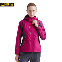 WHS 2016 new sport outdoor hiking jacket women clothing spring waterproof windproof two suit female warm coat