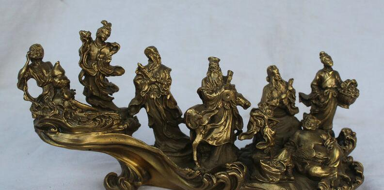 Details about 12 Chinese Folk Feng Shui Copper Stand Waves 8 Immortals God Statue Sculpture