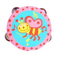 6inch Hand Held Tambourine Drum Bell Metal Jingles Cartoon Pattern Colorful Wooden Percussion Instruments Musical Toy for Kids