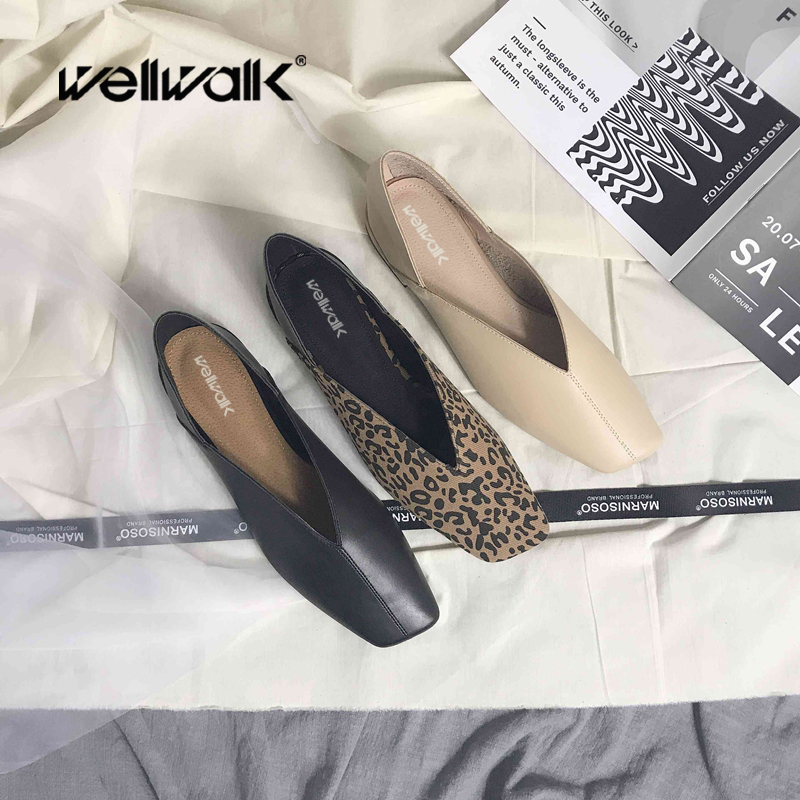 20ebac2e1cfd Detail Feedback Questions about Wellwalk Ballerina Shoes Leopard Flats  Woman Shoes Ladies Ballet Flats Women Bow Shoes Korean Style Ballerina Flats  Spring ...