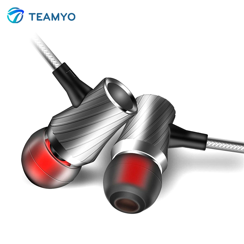 Teamyo Original D03 In-Ear Earphone Metal Heavy Bass Sound Quality Music Headset fone de ouvido With Mic For iphone Android professional heavy bass sound quality music earphone for microsoft lumia 640 lte dual sim earbuds headsets with mic