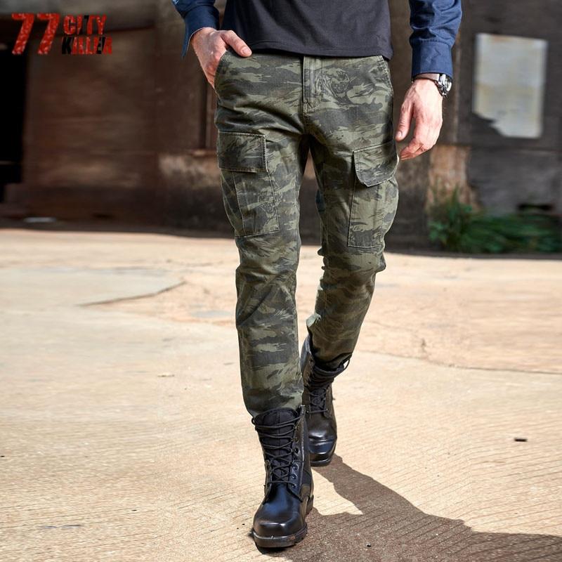 77 City Killer Camouflage Militaire Tactique Pantalon Multi Poche Robe Hommes de Pantalons Longs 2018 Nouvelle Fermeture Éclair Coton Salopette P692