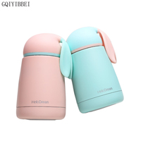 GQIYIBBEI 300ml Mini Portable Children Thermos Cup Cute Rabbit Vacuum Insulated Kid Students Travel Thermo Mug