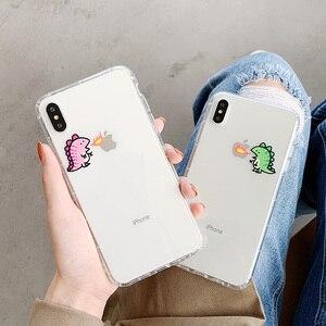 Чехол для телефона с милым мультяшным маленьким динозавром для iphone6 6s 7 8 plus, прозрачный мягкий чехол из ТПУ для Iphone XR XS Max, чехол