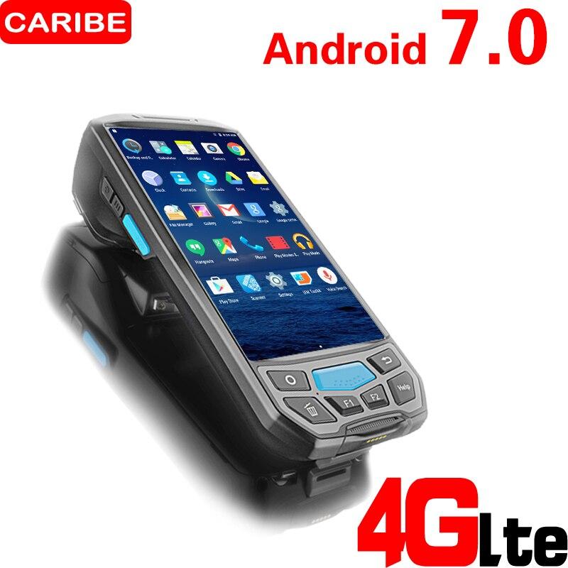 Caribe PL-50L Ручной портативный беспроводной android КПК 2d сканер сбора данных с 4 г вызова Wi-Fi uhf rfid дополнительный принтер