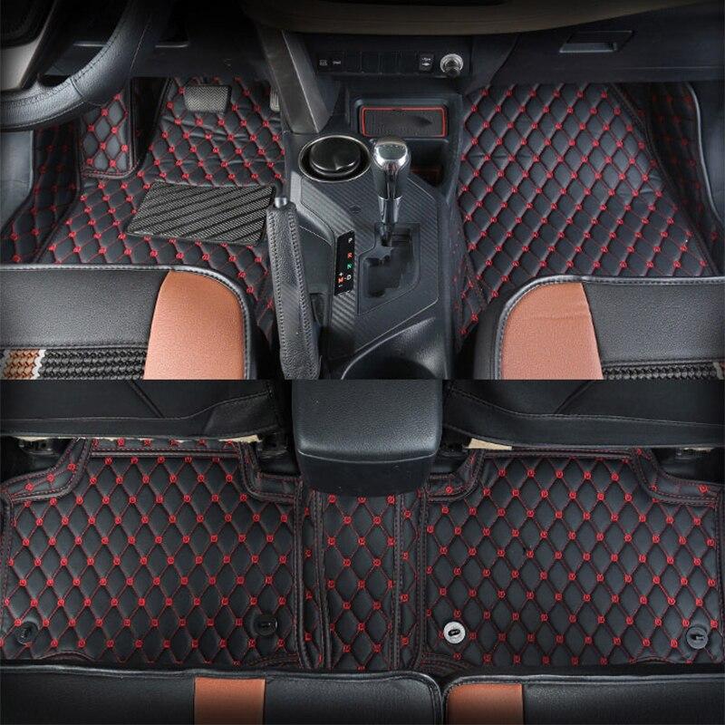 все цены на PU Leather Car Floor Mats Rugs Covers LHD For Toyota RAV4 XA40 2013 2014 2015 2016 2017 No Smell Auto Rug Interior Acccessories онлайн