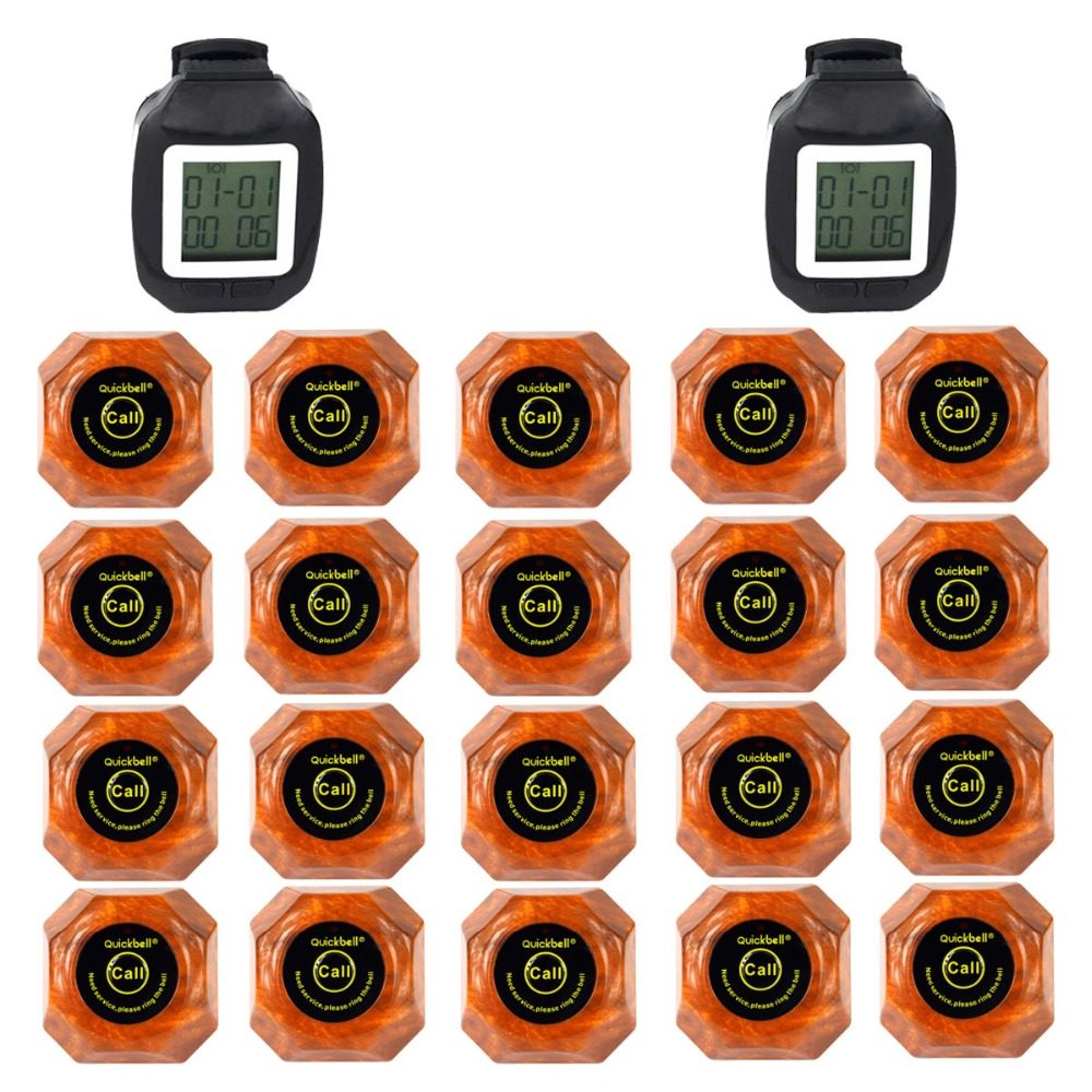 QuickBell Wireless Restaurant Pager Calling System 2 Watch Guest 20pcs Wood Color Guest Waiting Pager Waterproof  1500M F3118 wireless service call bell system popular in restaurant ce passed 433 92mhz full equipment watch pager 1 watch 7 call button