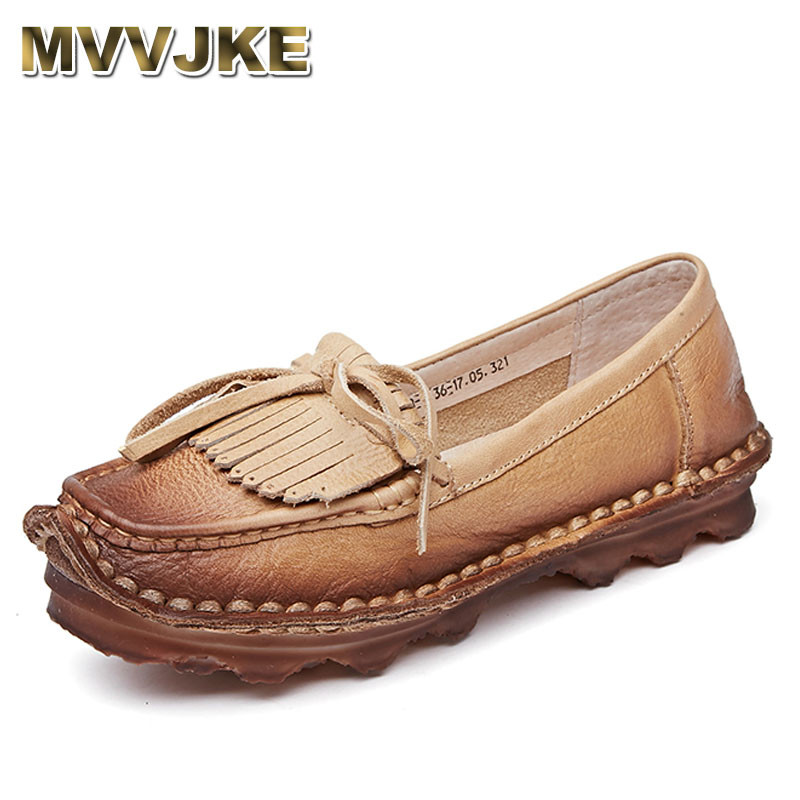 MVVJKE Women Casual Shoes Female Genuine Leather Loafers Shoes Woman Fashion Slip On Tassel Flats Women Shoes first dance fashion candy printed women shoes breathable female casual slip on shoes woman loafers outdoor walking 3d chaussure