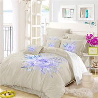 Jessy Home Bed Linen Set ropa de cama The Flower Of a Water Lily Unicorn Bedding Satin Drop Shipping A4